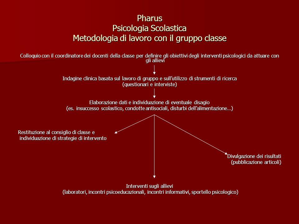 Pharus Psicologia Scolastica Metodologia di lavoro con il gruppo classe