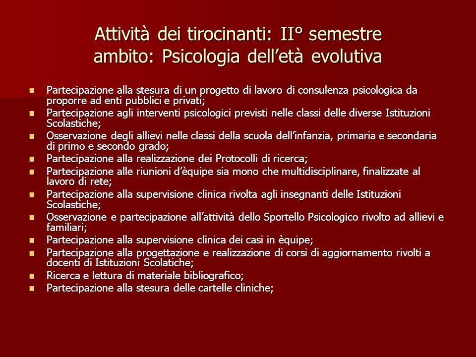 Attività dei tirocinanti: II° semestre ambito: Psicologia dell'età evolutiva