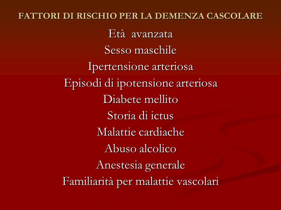 FATTORI DI RISCHIO PER LA DEMENZA CASCOLARE