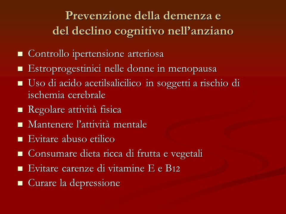 Prevenzione della demenza e del declino cognitivo nell'anziano