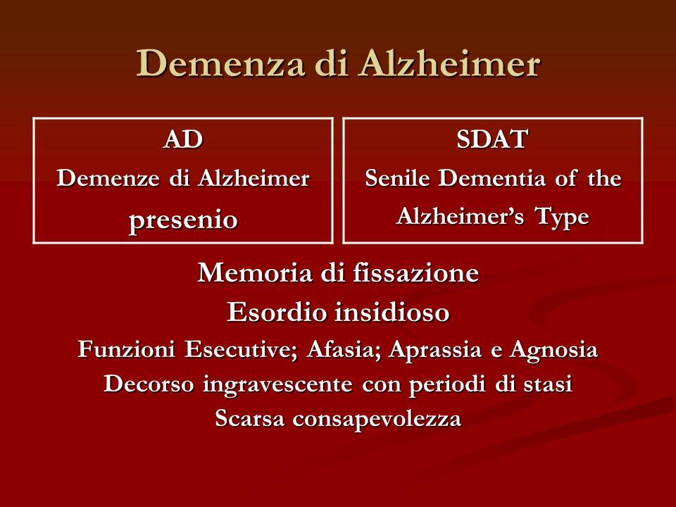 Demenza di Alzheimer presenio Memoria di fissazione Esordio insidioso