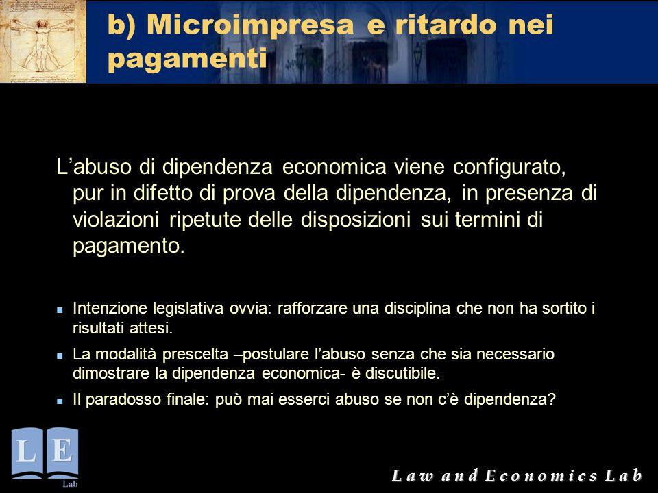 b) Microimpresa e ritardo nei pagamenti