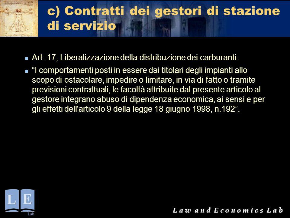 c) Contratti dei gestori di stazione di servizio