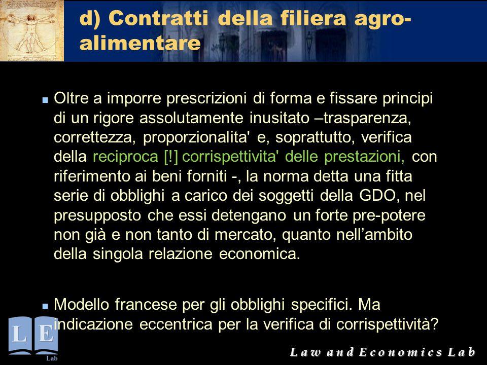 d) Contratti della filiera agro-alimentare