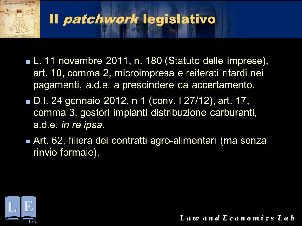 Il patchwork legislativo