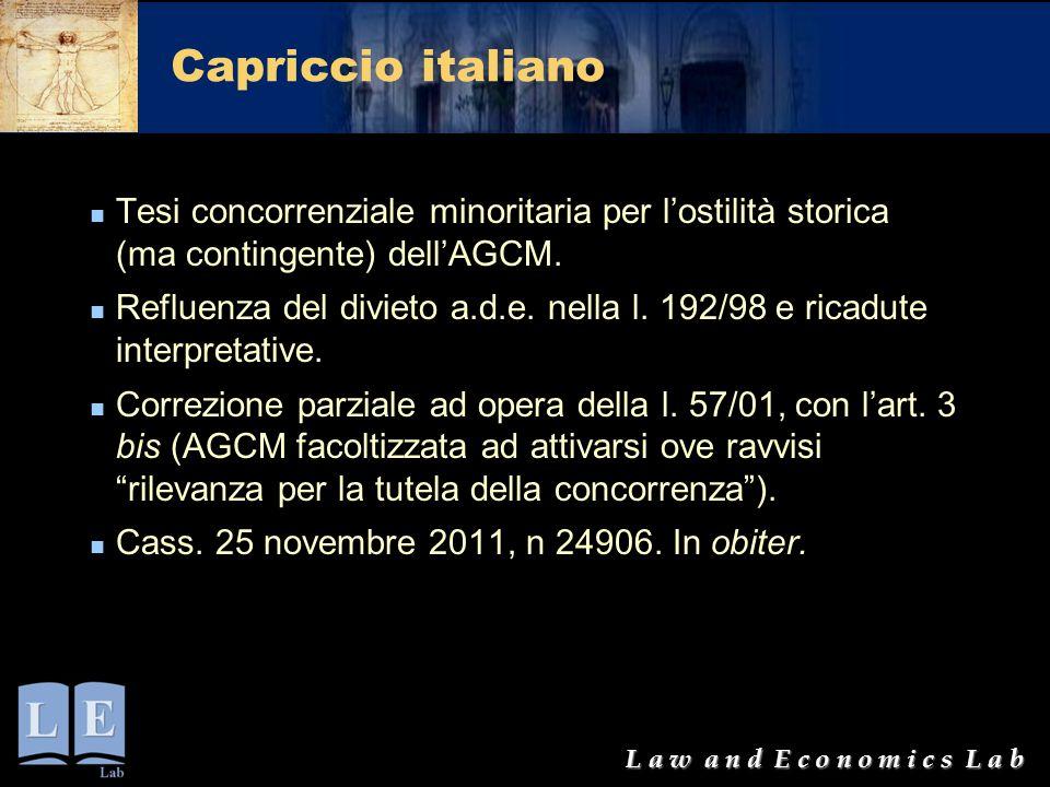 Capriccio italiano Tesi concorrenziale minoritaria per l'ostilità storica (ma contingente) dell'AGCM.