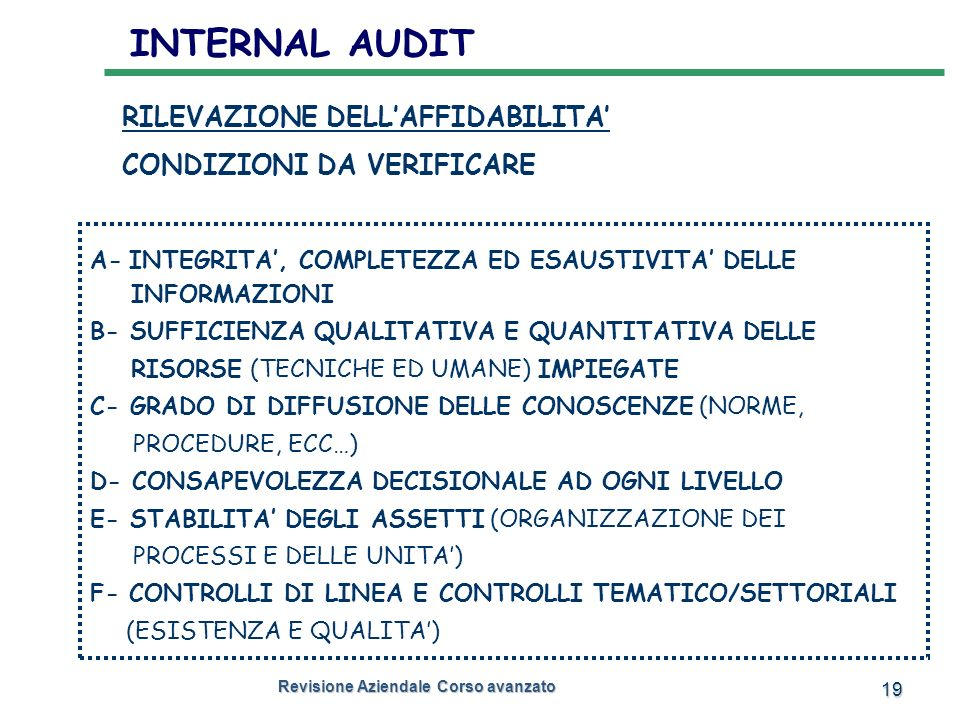 INTERNAL AUDIT RILEVAZIONE DELL'AFFIDABILITA' CONDIZIONI DA VERIFICARE