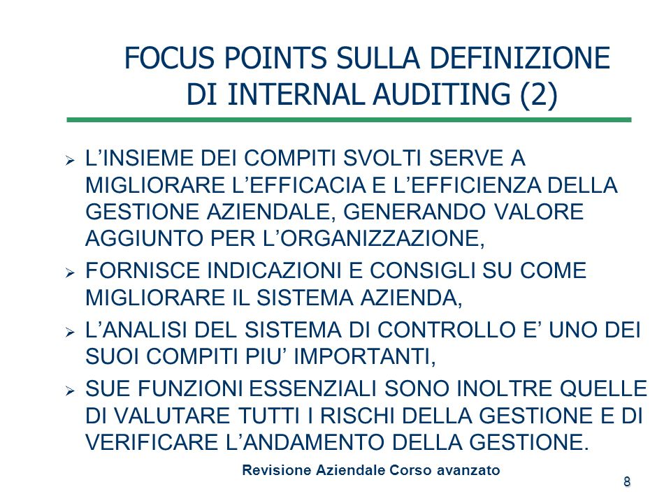 FOCUS POINTS SULLA DEFINIZIONE DI INTERNAL AUDITING (2)