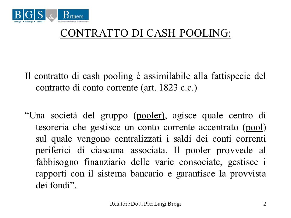 CONTRATTO DI CASH POOLING:
