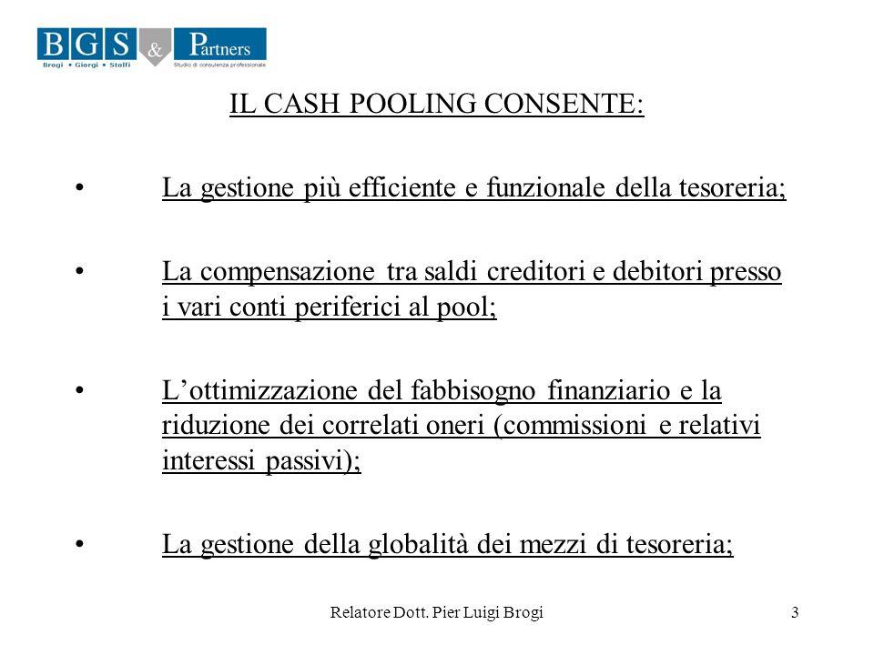 IL CASH POOLING CONSENTE: