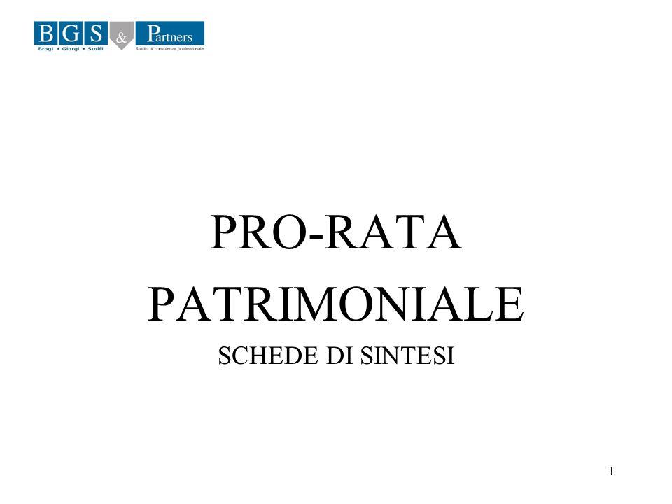 PRO-RATA PATRIMONIALE SCHEDE DI SINTESI