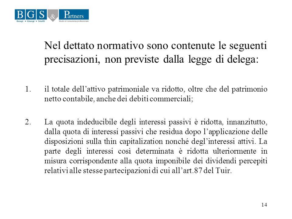 Nel dettato normativo sono contenute le seguenti precisazioni, non previste dalla legge di delega: