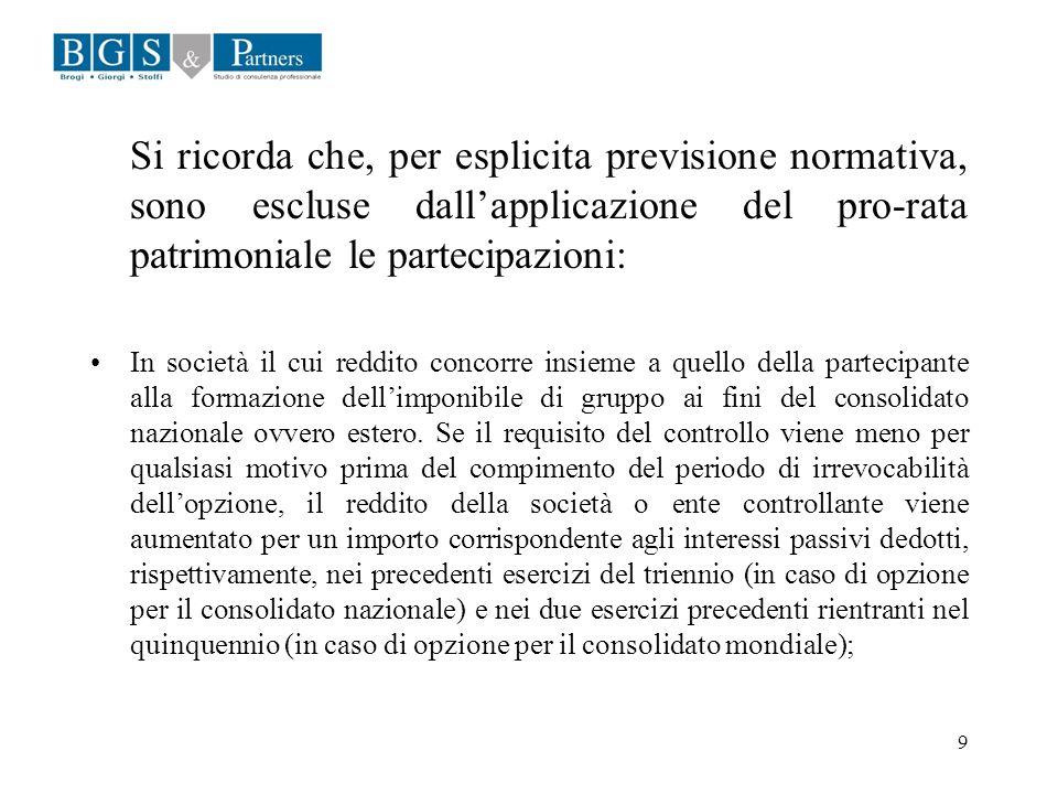 Si ricorda che, per esplicita previsione normativa, sono escluse dall'applicazione del pro-rata patrimoniale le partecipazioni:
