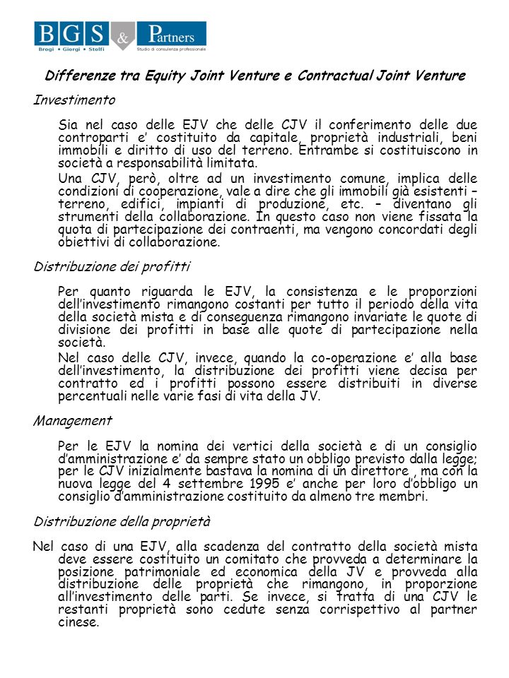 Differenze tra Equity Joint Venture e Contractual Joint Venture