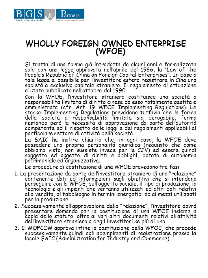 WHOLLY FOREIGN OWNED ENTERPRISE (WFOE)