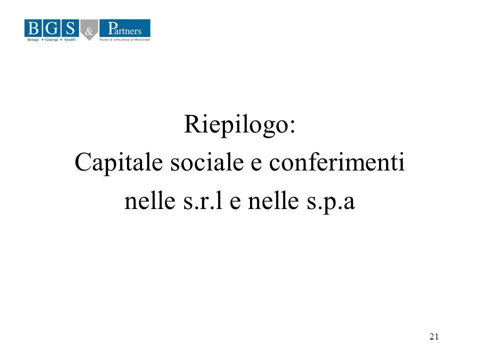 Capitale sociale e conferimenti