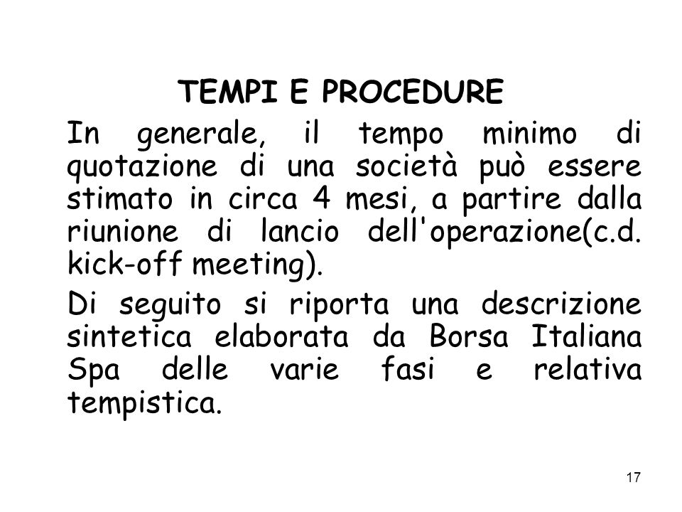 TEMPI E PROCEDURE