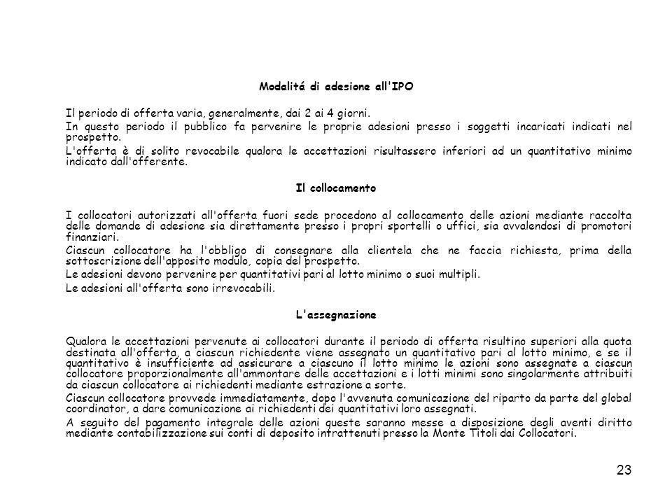 Modalitá di adesione all IPO