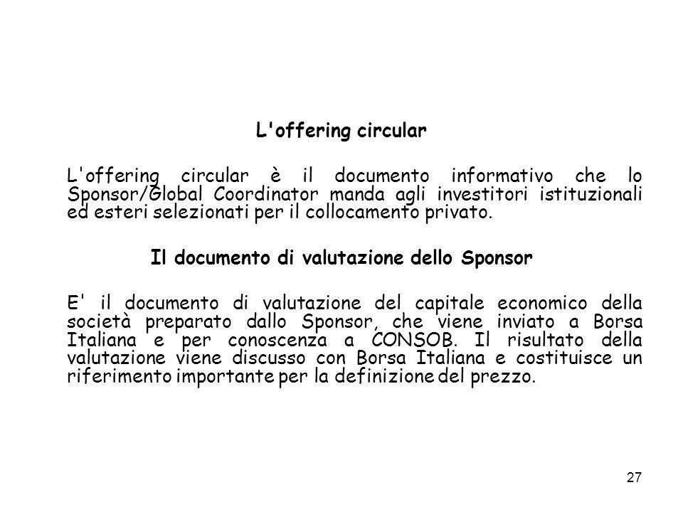 Il documento di valutazione dello Sponsor