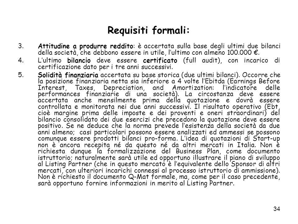 Requisiti formali: