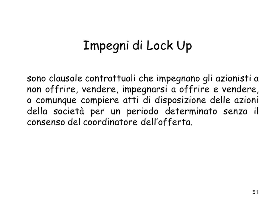 Impegni di Lock Up