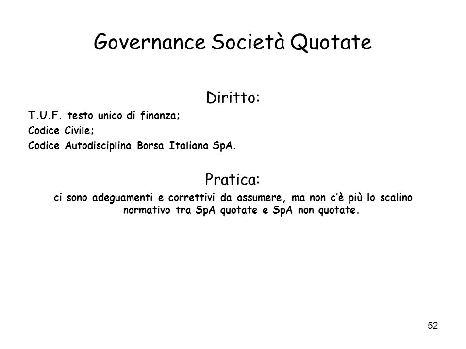 Governance Società Quotate