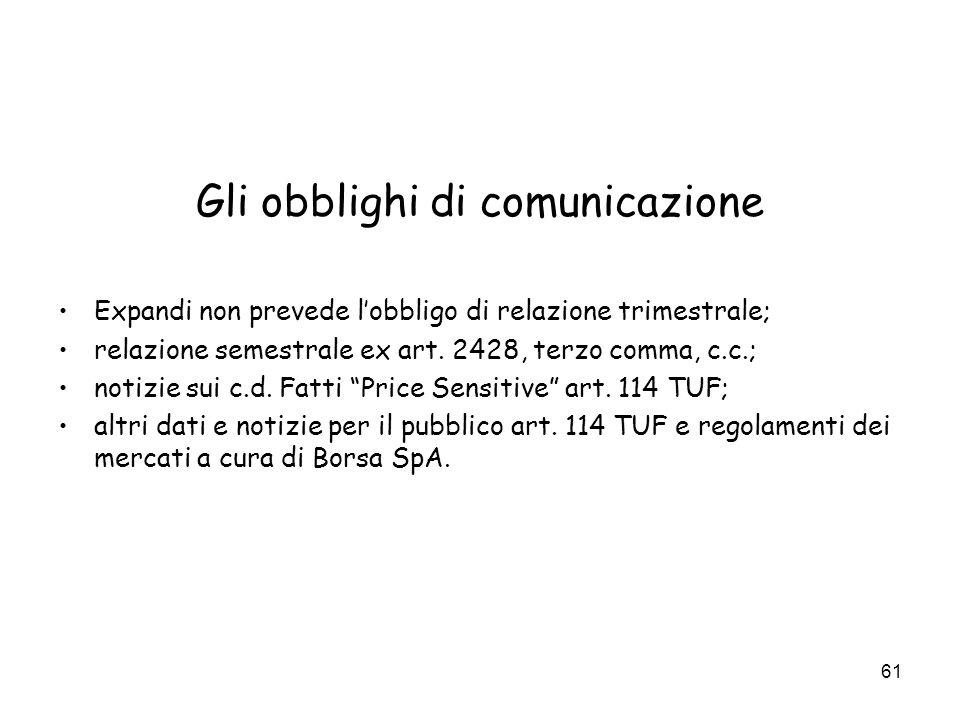 Gli obblighi di comunicazione