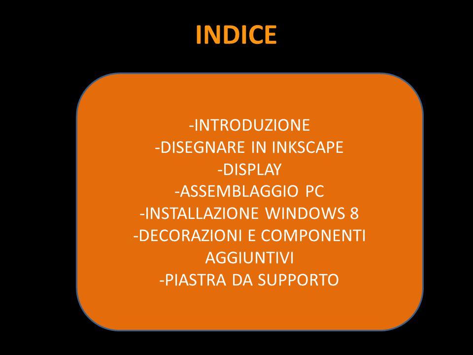INDICE -INTRODUZIONE -DISEGNARE IN INKSCAPE -DISPLAY -ASSEMBLAGGIO PC