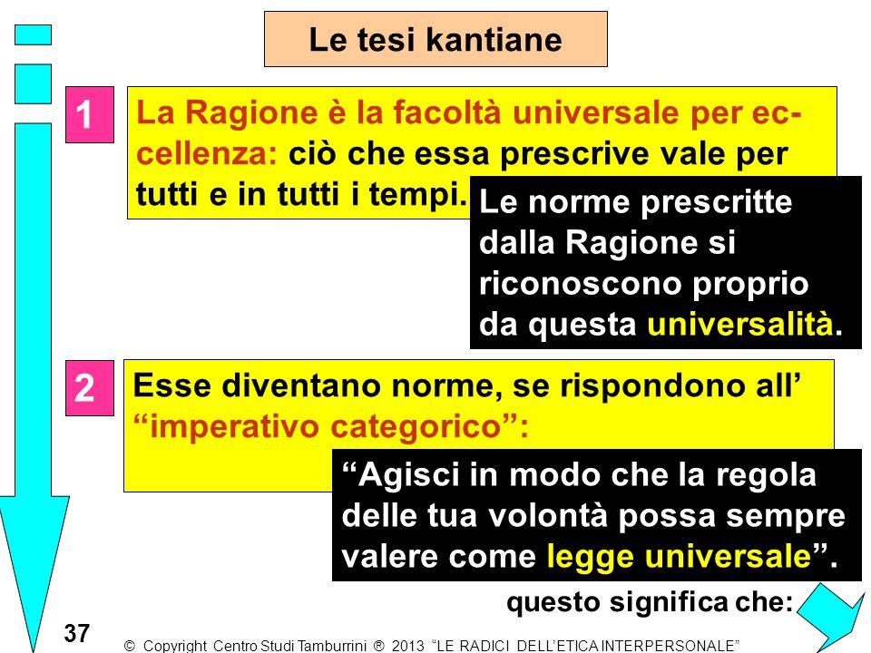 Le tesi kantiane 1. La Ragione è la facoltà universale per ec- cellenza: ciò che essa prescrive vale per tutti e in tutti i tempi.