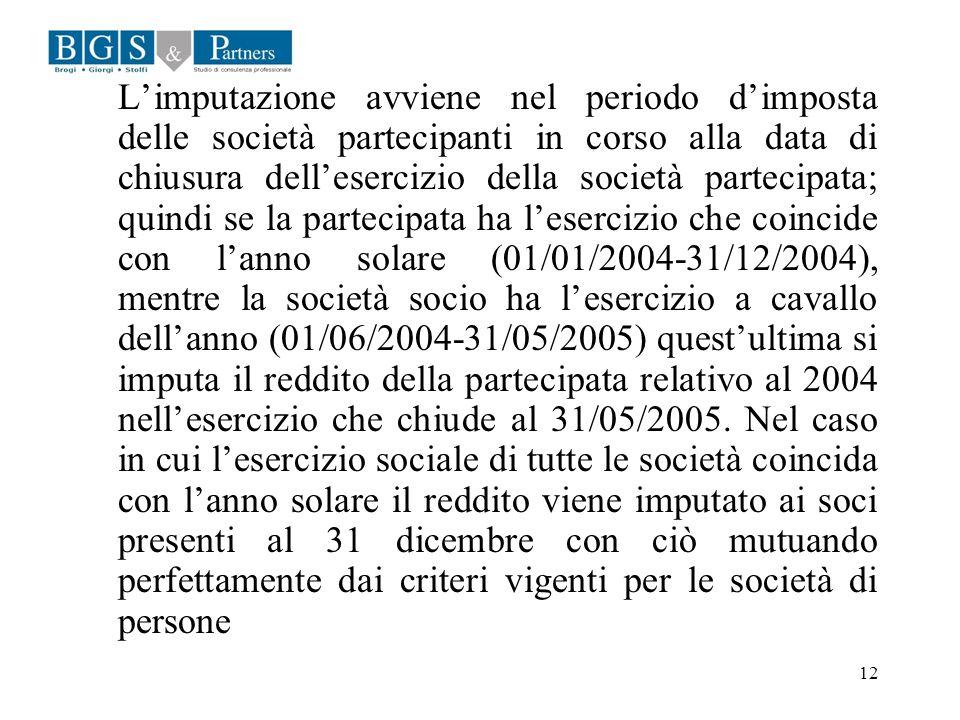 L'imputazione avviene nel periodo d'imposta delle società partecipanti in corso alla data di chiusura dell'esercizio della società partecipata; quindi se la partecipata ha l'esercizio che coincide con l'anno solare (01/01/2004-31/12/2004), mentre la società socio ha l'esercizio a cavallo dell'anno (01/06/2004-31/05/2005) quest'ultima si imputa il reddito della partecipata relativo al 2004 nell'esercizio che chiude al 31/05/2005.