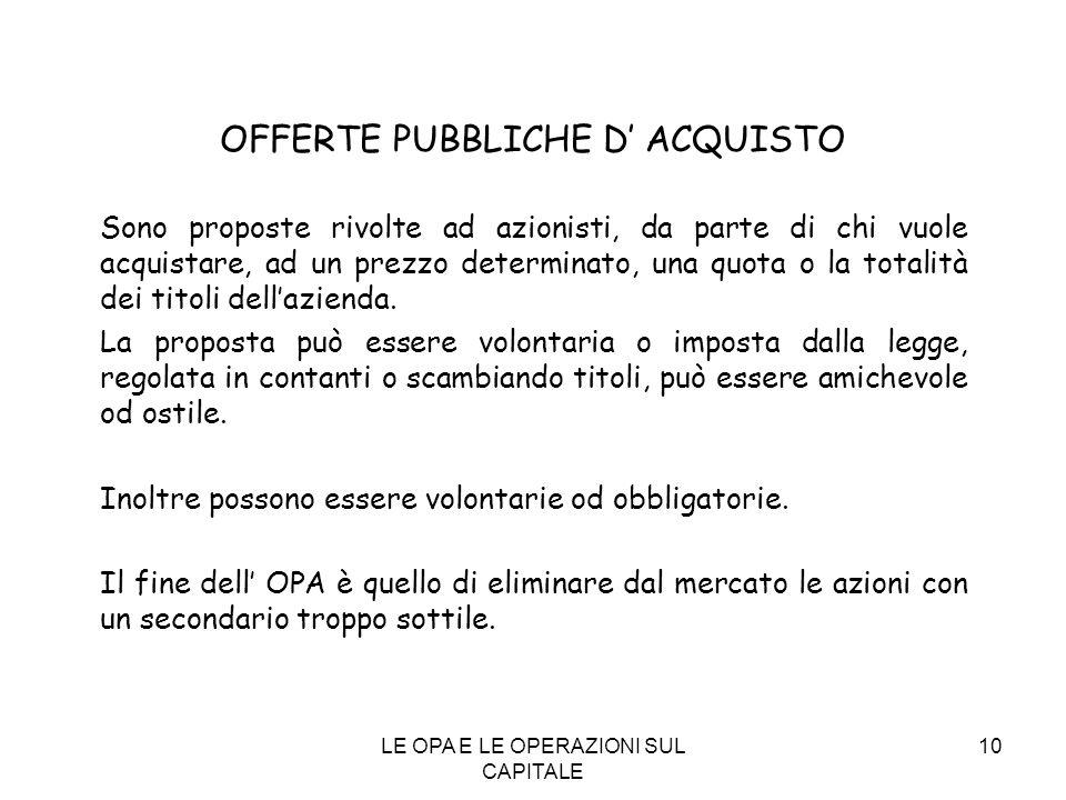 OFFERTE PUBBLICHE D' ACQUISTO
