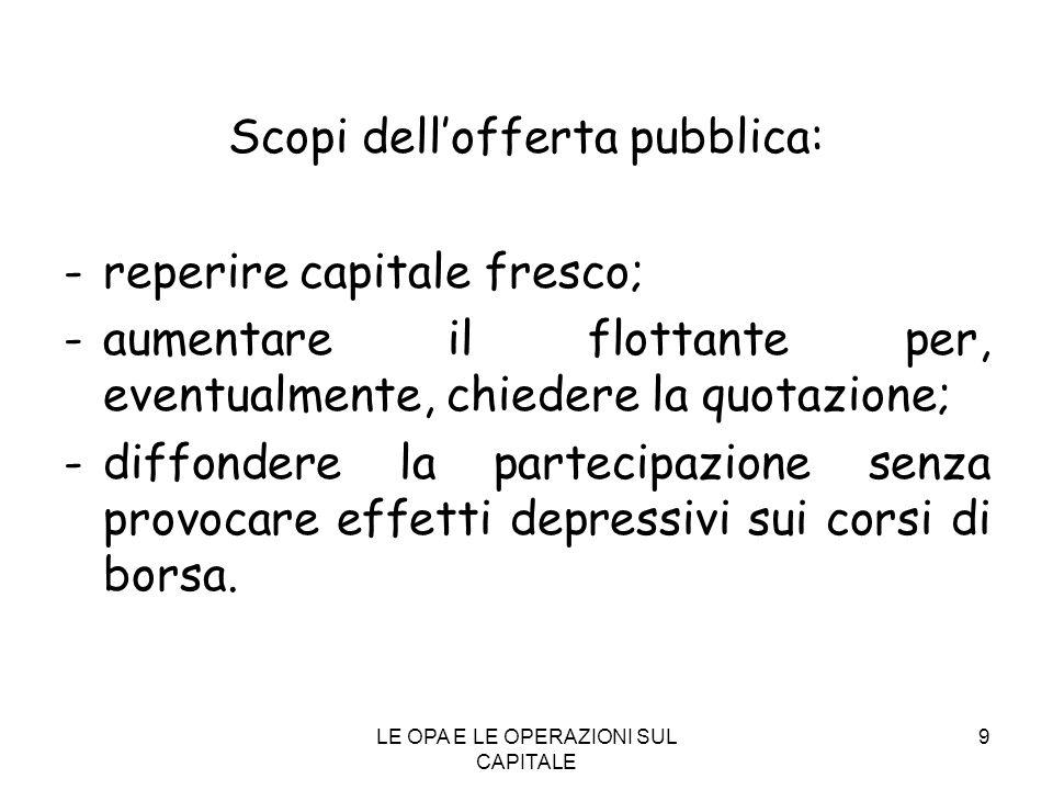 Scopi dell'offerta pubblica: - reperire capitale fresco;