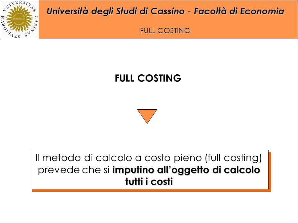FULL COSTING Il metodo di calcolo a costo pieno (full costing) prevede che si imputino all'oggetto di calcolo tutti i costi.