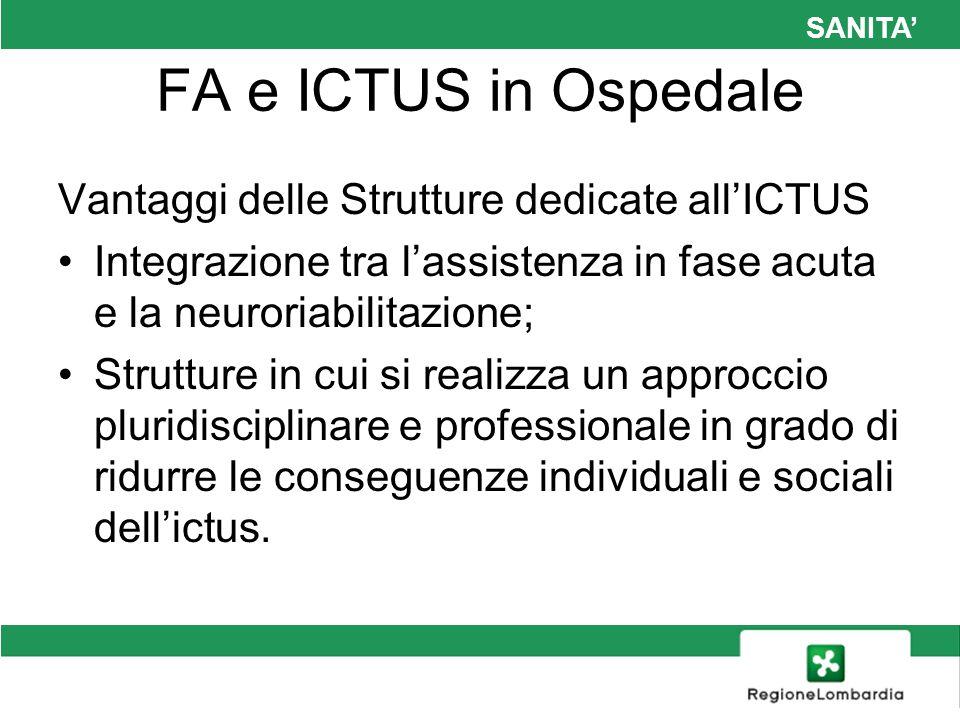 FA e ICTUS in Ospedale Vantaggi delle Strutture dedicate all'ICTUS