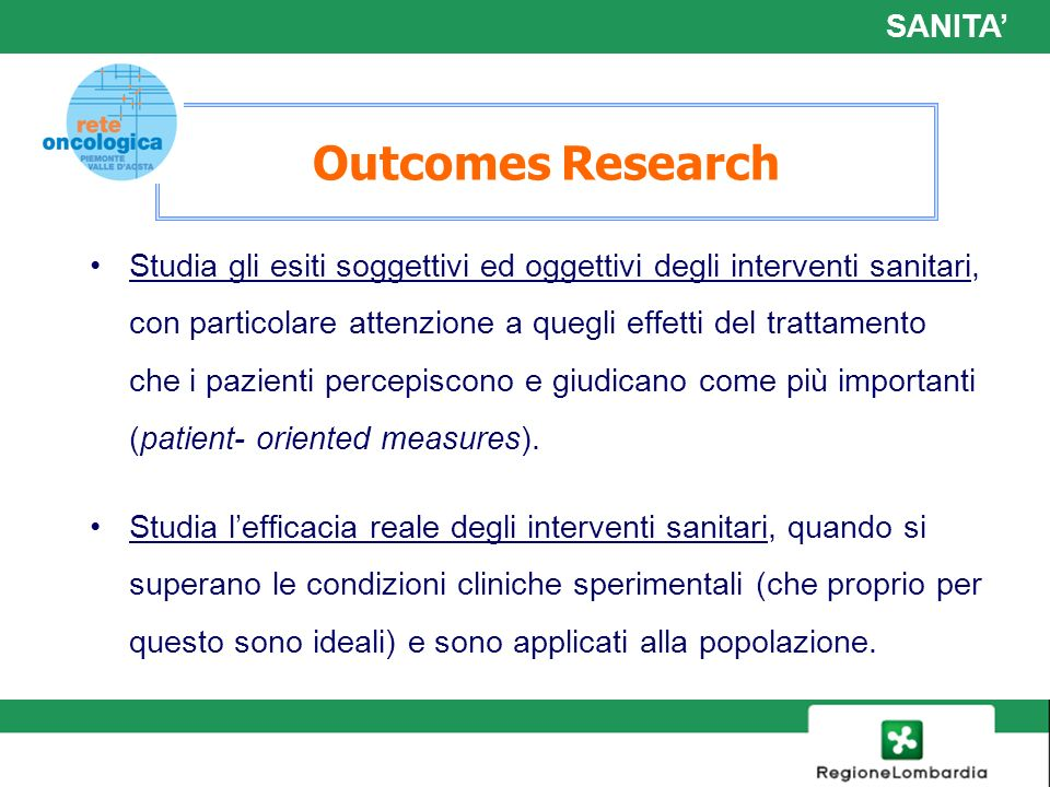 Outcomes Research SANITA'
