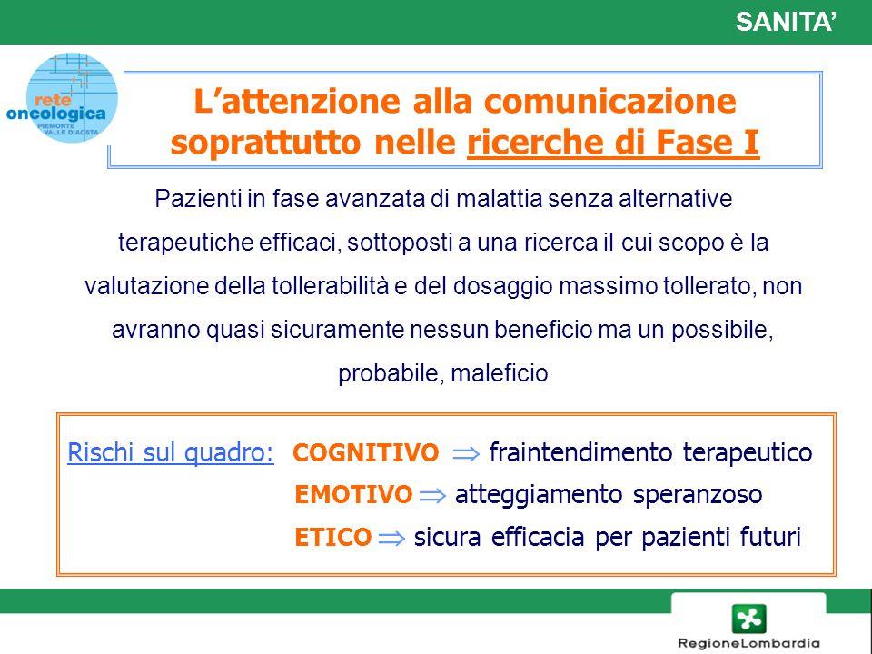 L'attenzione alla comunicazione soprattutto nelle ricerche di Fase I