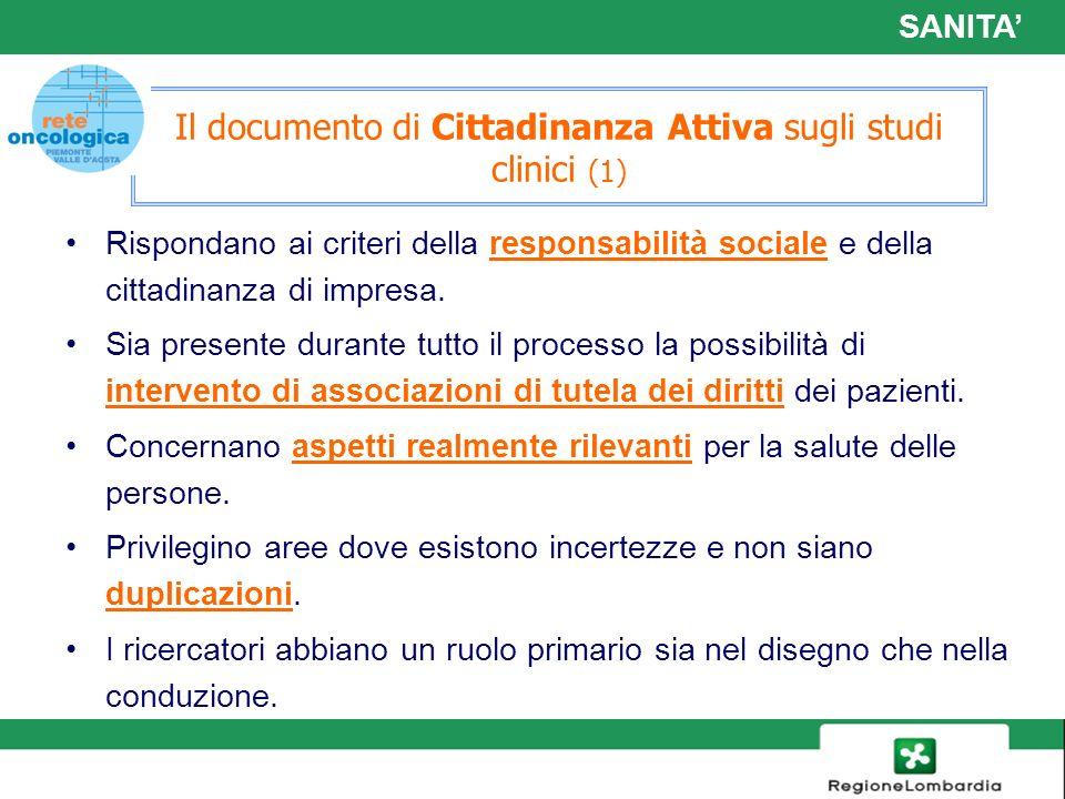 Il documento di Cittadinanza Attiva sugli studi clinici (1)