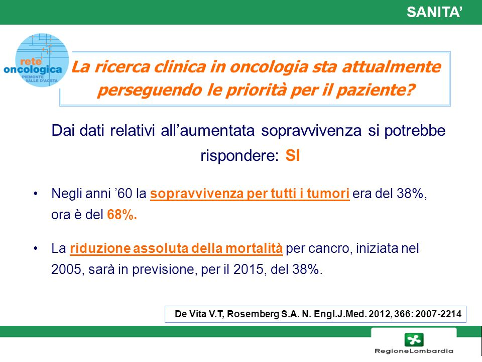 SANITA' La ricerca clinica in oncologia sta attualmente perseguendo le priorità per il paziente