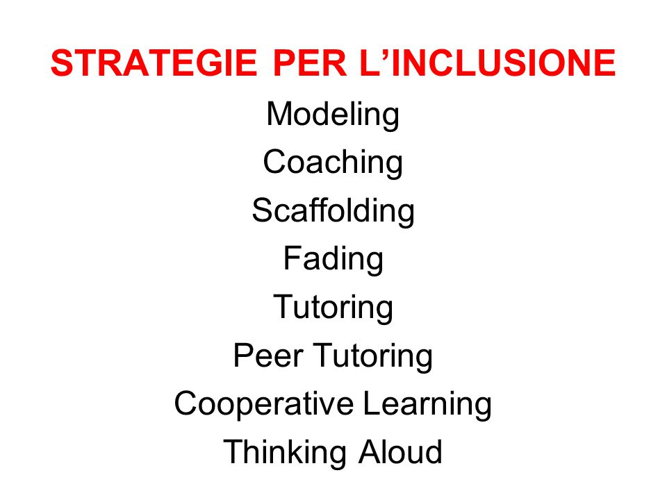 STRATEGIE PER L'INCLUSIONE