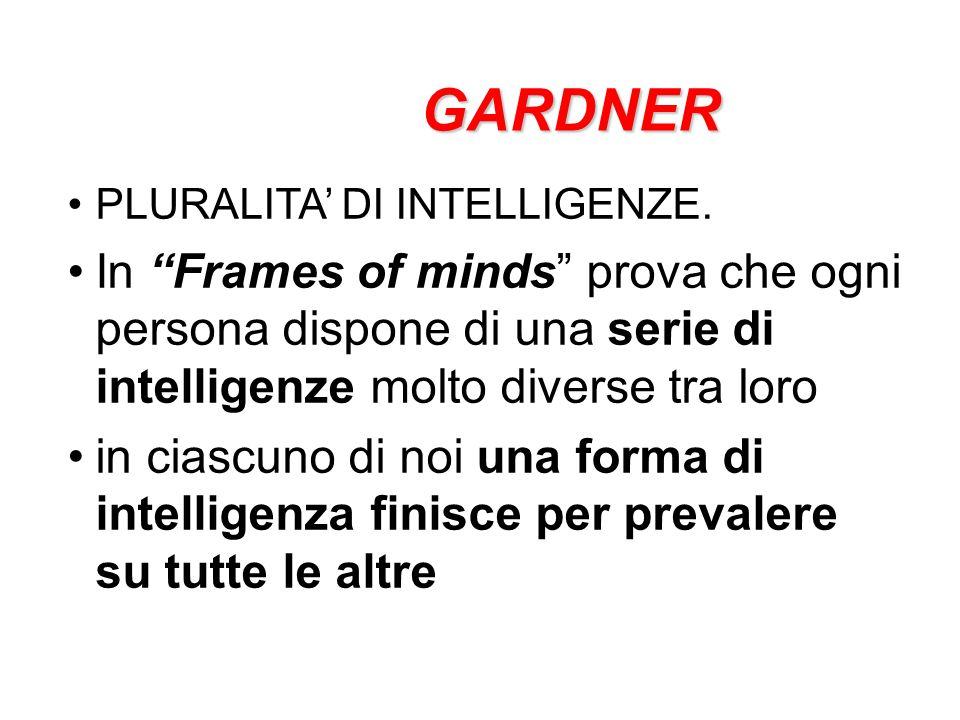 GARDNER PLURALITA' DI INTELLIGENZE. In Frames of minds prova che ogni persona dispone di una serie di intelligenze molto diverse tra loro.