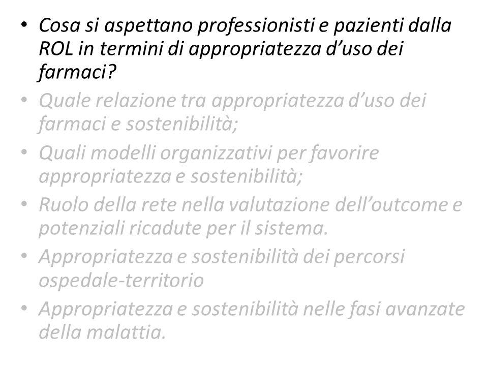 Cosa si aspettano professionisti e pazienti dalla ROL in termini di appropriatezza d'uso dei farmaci