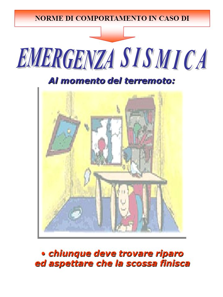 EMERGENZA S I S M I C A Al momento del terremoto: