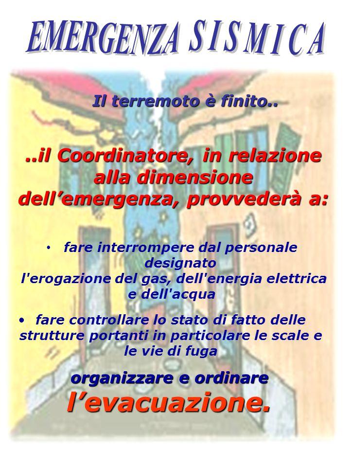 EMERGENZA S I S M I C A Il terremoto è finito.. ..il Coordinatore, in relazione alla dimensione dell'emergenza, provvederà a: