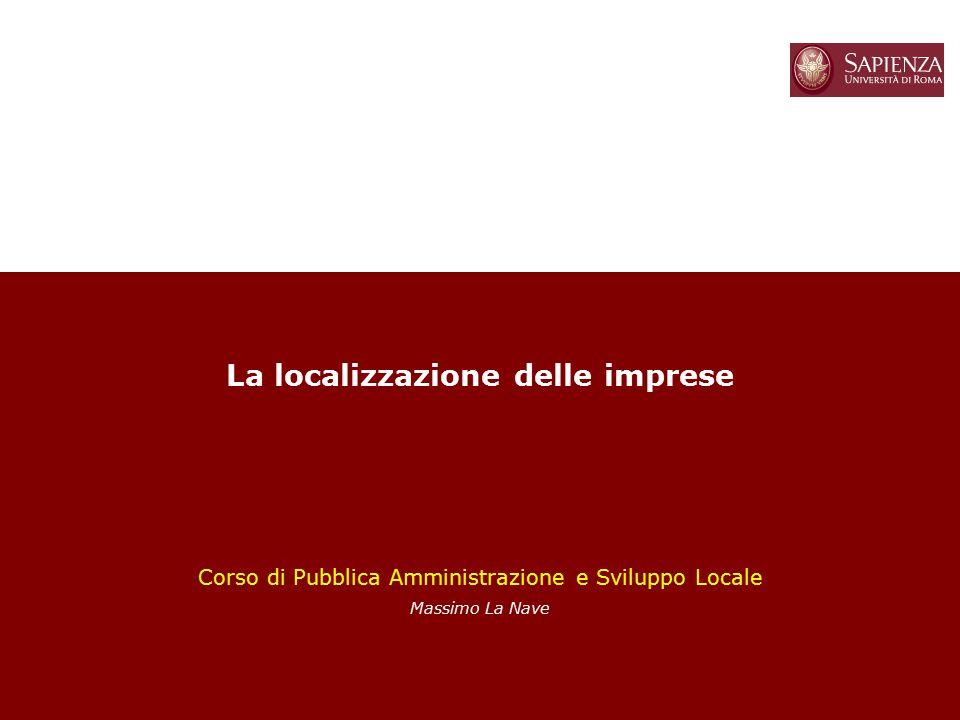 La localizzazione delle imprese