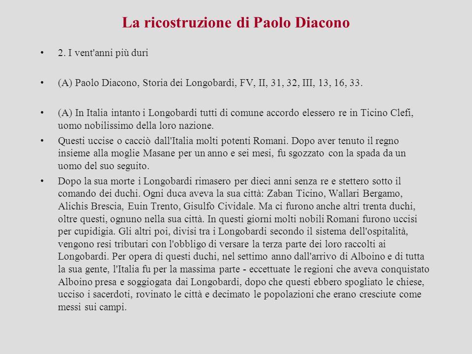 La ricostruzione di Paolo Diacono