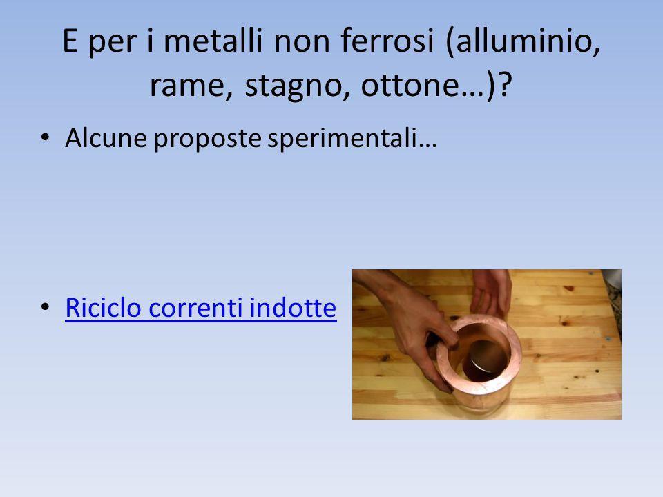 E per i metalli non ferrosi (alluminio, rame, stagno, ottone…)