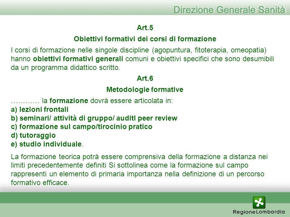 Obiettivi formativi dei corsi di formazione Metodologie formative