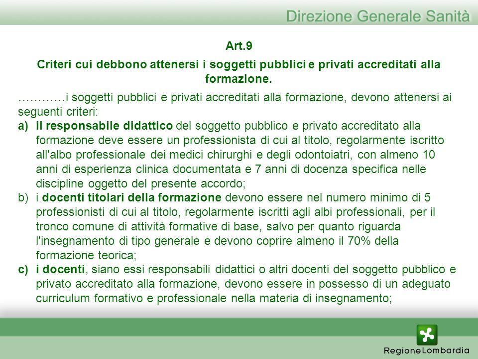 Art.9 Criteri cui debbono attenersi i soggetti pubblici e privati accreditati alla formazione.