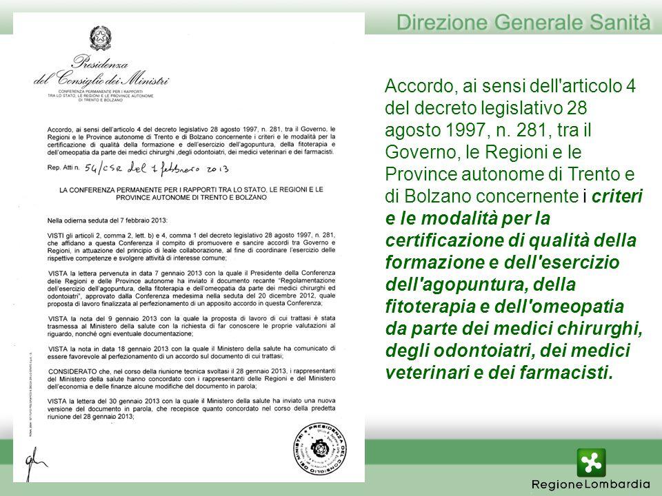 Accordo, ai sensi dell articolo 4 del decreto legislativo 28 agosto 1997, n.