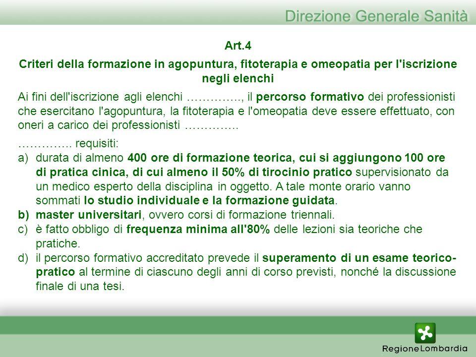 Art.4 Criteri della formazione in agopuntura, fitoterapia e omeopatia per l iscrizione negli elenchi.